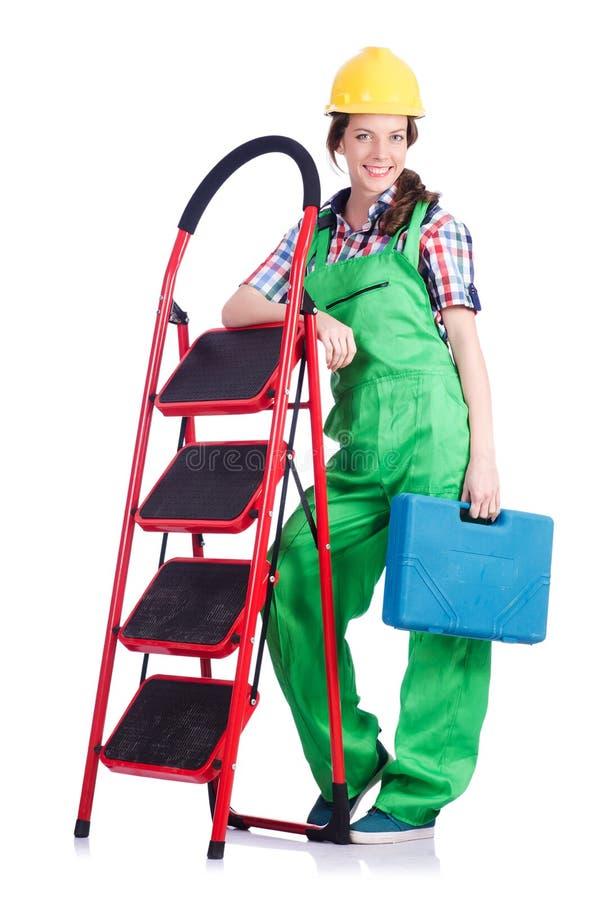 Woman repair worker stock photo