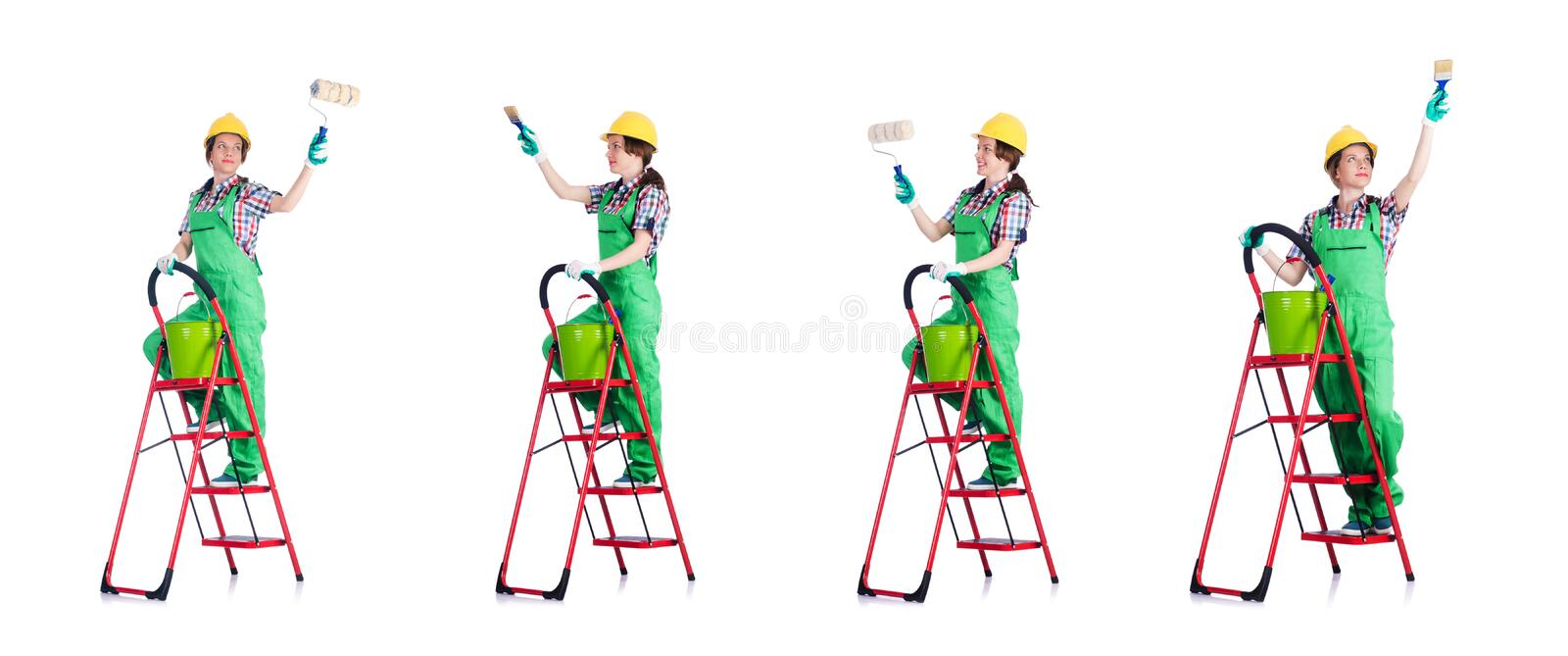 Woman repair worker with ladder stock photo
