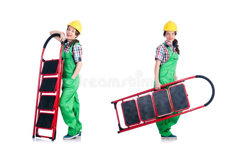 Woman repair worker with ladder royalty free stock photos