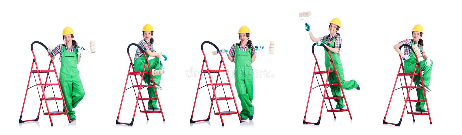 Woman repair worker with ladder stock image