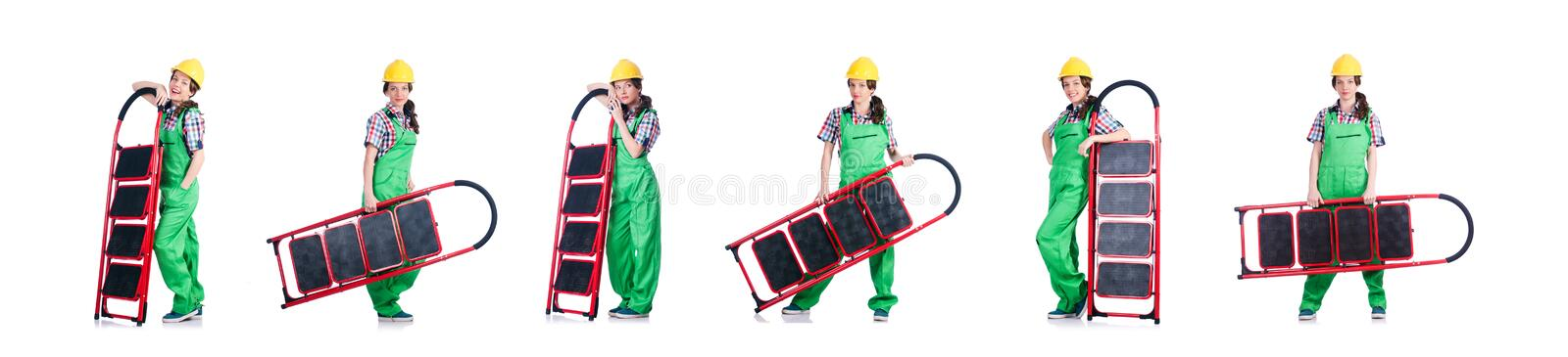 Woman repair worker with ladder stock photography