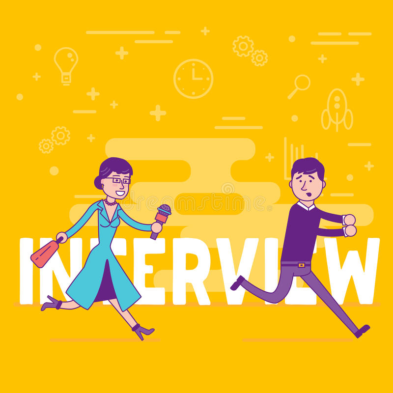 Woman reporter with microphone trying to get interview with young businessman. Female correspondent doing a hero piece with a man royalty free illustration