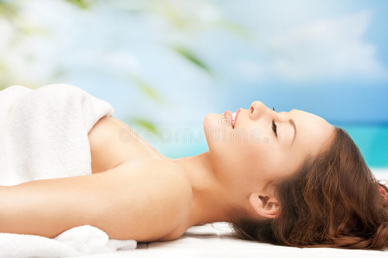 Woman on resort in spa royalty free stock photos