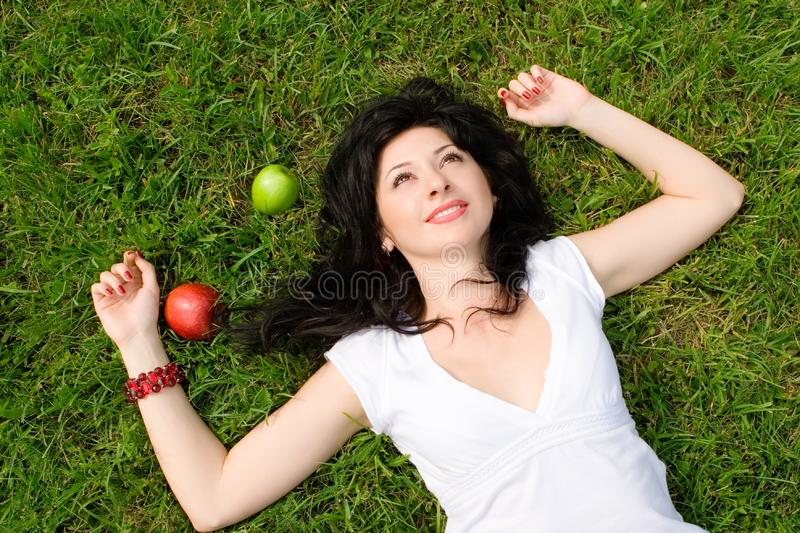 Download Woman rest on the grass stock image. Image of lovely, outdoor - 7951313