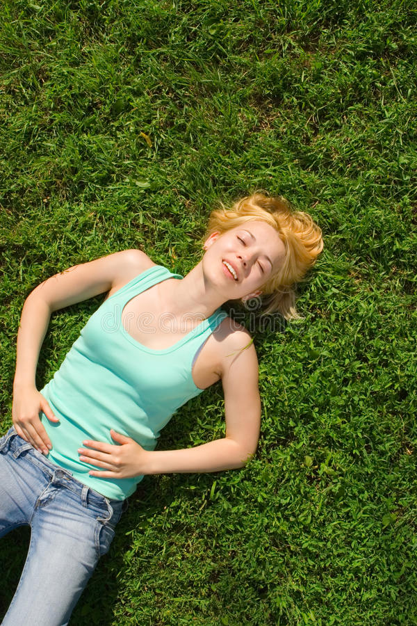 Download Woman rest on the grass stock image. Image of carefree - 9730739