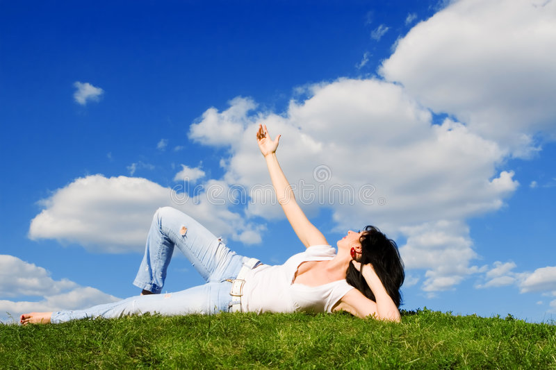 Download Woman Rest On The Green Grass Stock Photo - Image: 6283762