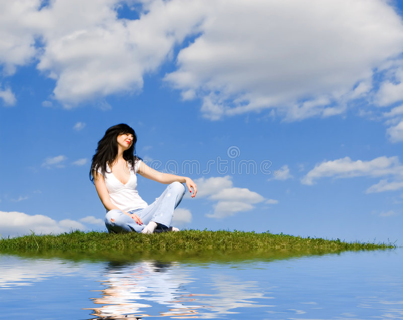 Download Woman Rest On The Green Grass Stock Photo - Image: 7246512