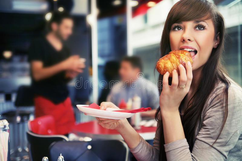 Woman at restaurant royalty free stock photo