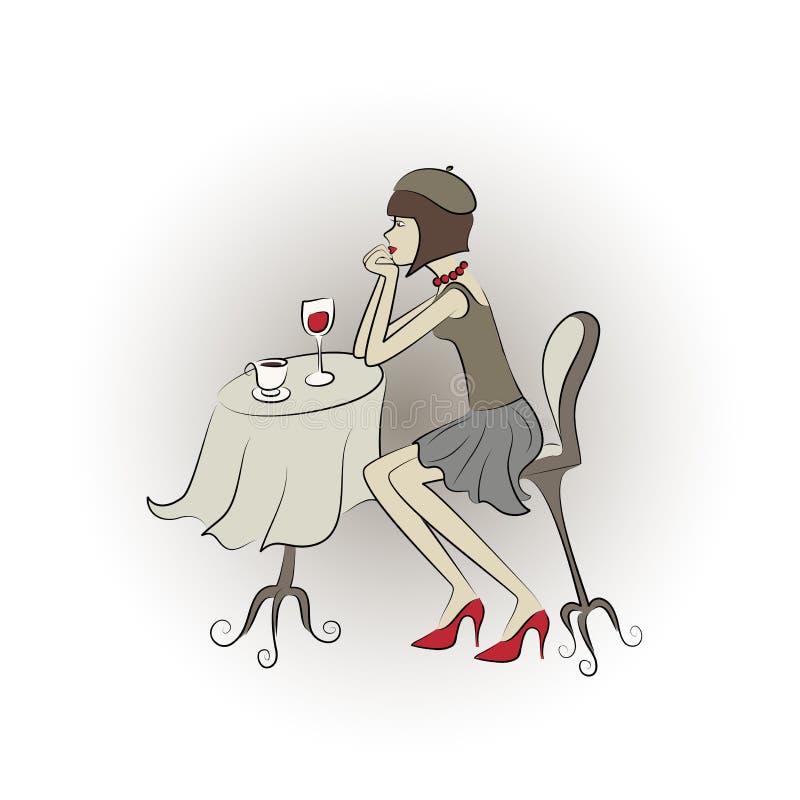 Download Woman in restaurant stock vector. Image of vector, artwork - 24790559