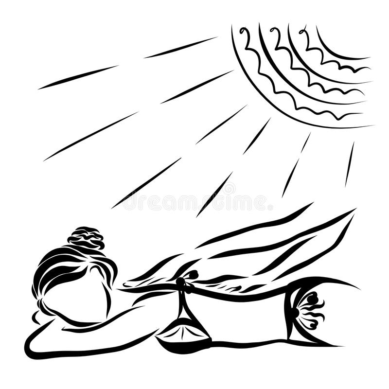 A woman is resting under the sun, massage or spreading a sunscreen cream.  royalty free illustration