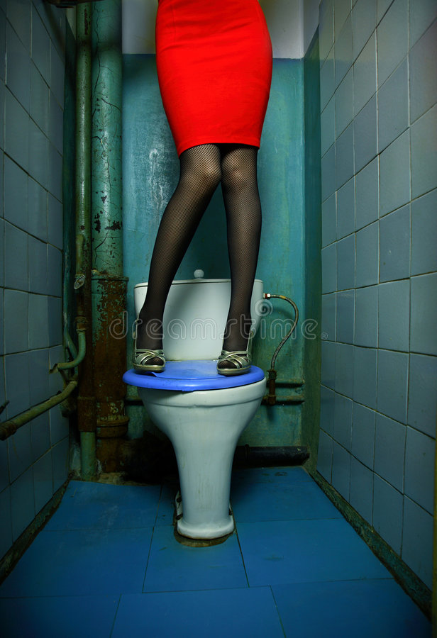 Woman In Restroom Stock Image