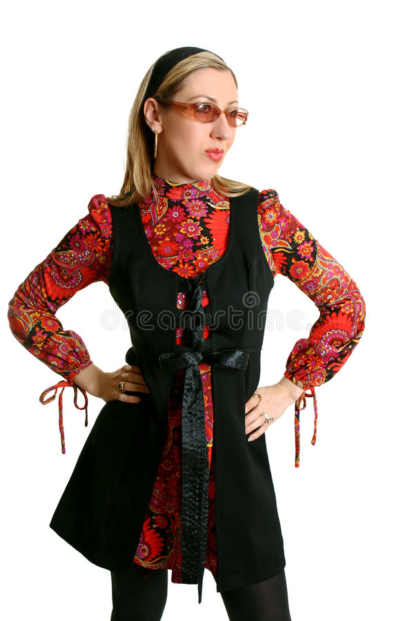 Woman in retro fashion royalty free stock images