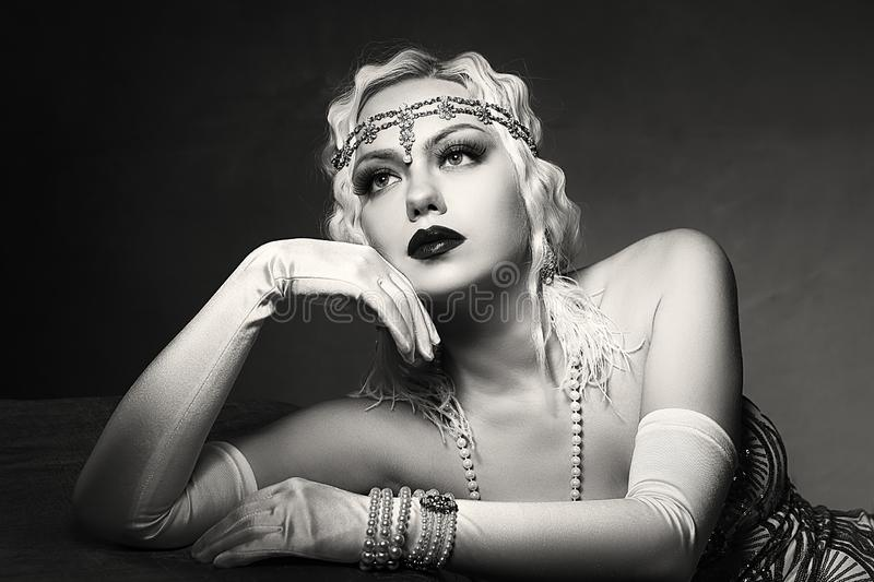 Woman retro flapper style royalty free stock photo