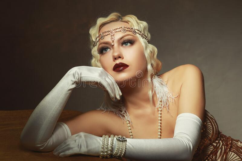 Woman retro flapper style royalty free stock photography