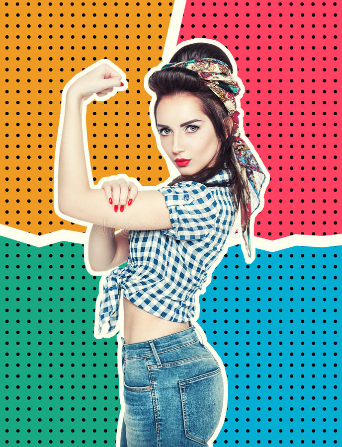 Woman in retro pin-up style with powerful gesture We Can Do IT royalty free stock photos
