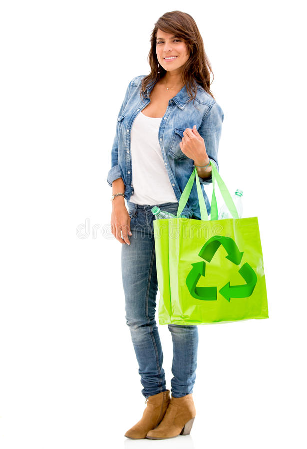 Download Woman with a reusable bag stock image. Image of logo - 28940949