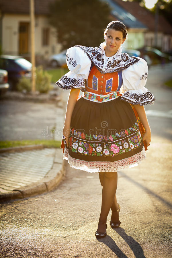 Woman In A Richly Decorated Ceremonial Folk Dress Stock Image