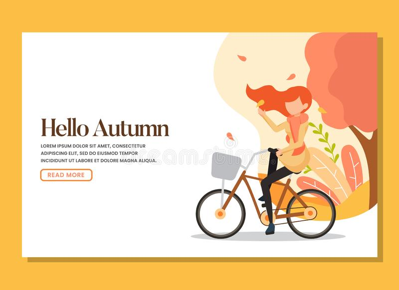 A woman riding bicycle in the warm autumn day landing page stock photos