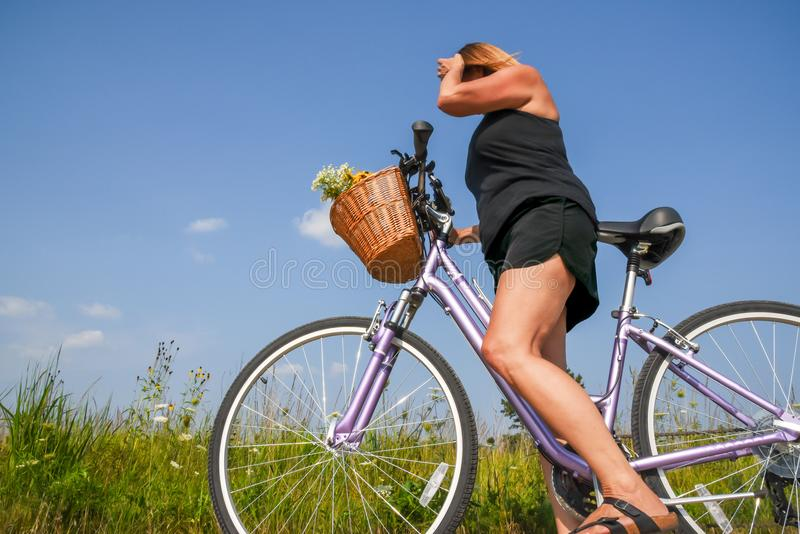 Woman riding bike with basket of flowers through field in summer royalty free stock photo
