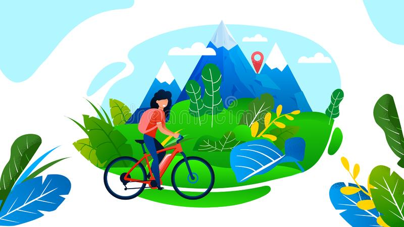 Woman Riding Bike Having Rest on Mountain Valley. Woman Riding Bike. Rest on Nature. Valley and Rocks Landscape. Mountain Biking, Extreme Sport and Recreation vector illustration