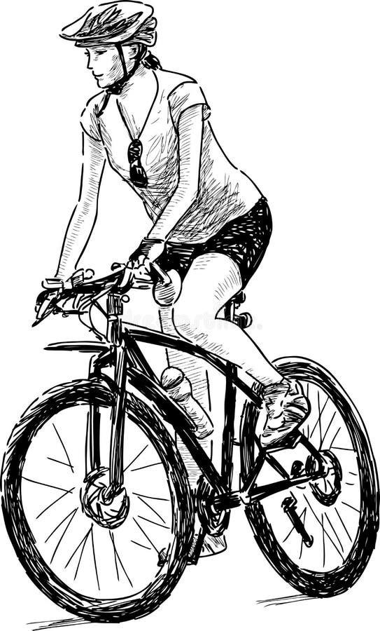 Woman riding a bike royalty free illustration