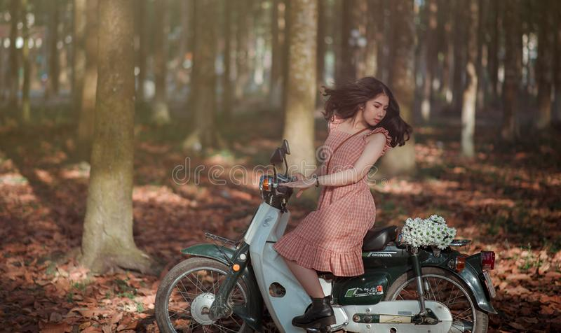 Woman Riding Black and White Motor Scooter in Jungle stock photos