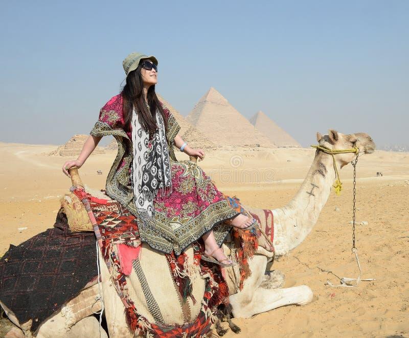 Woman riding camel stock photos