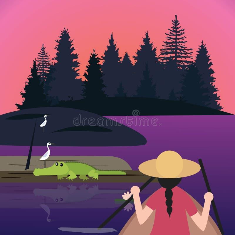 Woman riding canoe kayak small boat meet crocodile alligator in wet land lake stock illustration