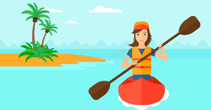 Woman riding in canoe. royalty free illustration