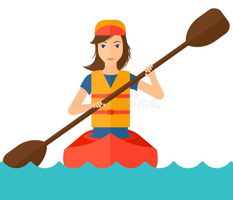 Woman riding in canoe stock illustration