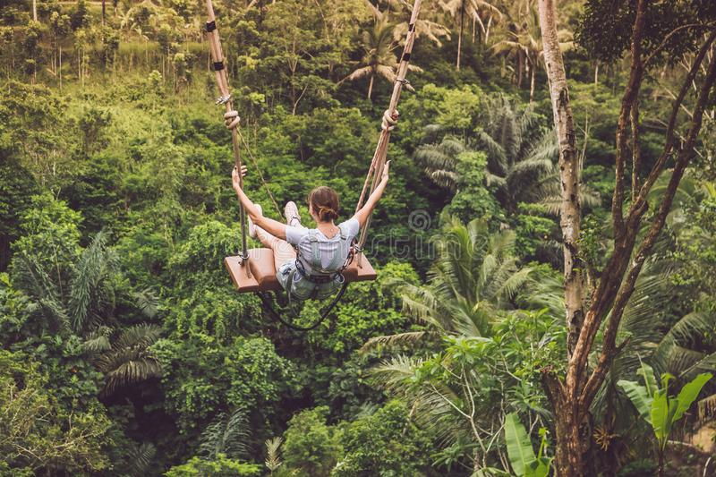 Woman Riding Hanging Swing in Forest royalty free stock image