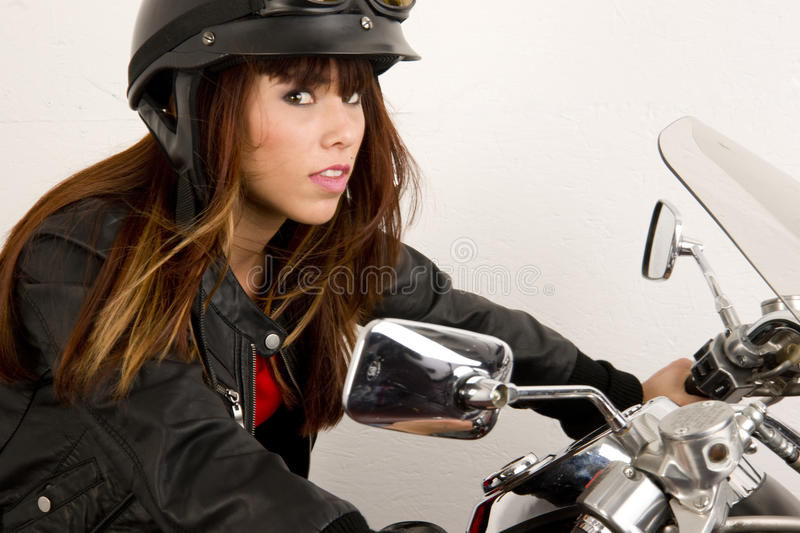 Download Leather Wearing Woman Riding Motorcycle Stock Image - Image of woman, stunning: 20962711