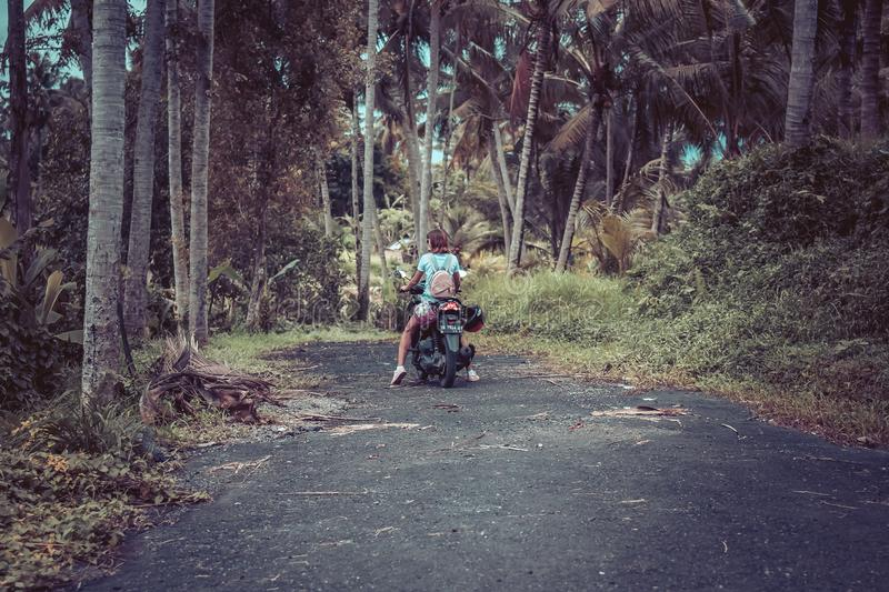Woman Riding Motor Scooter Near Coconut Trees stock images