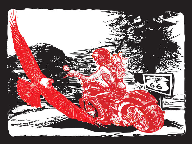 An woman riding motorcycle. An hand drawn vector. Freehand drawing. An woman from behind riding motorcycle, chopper bike on the route 66. Freehand drawing stock illustration