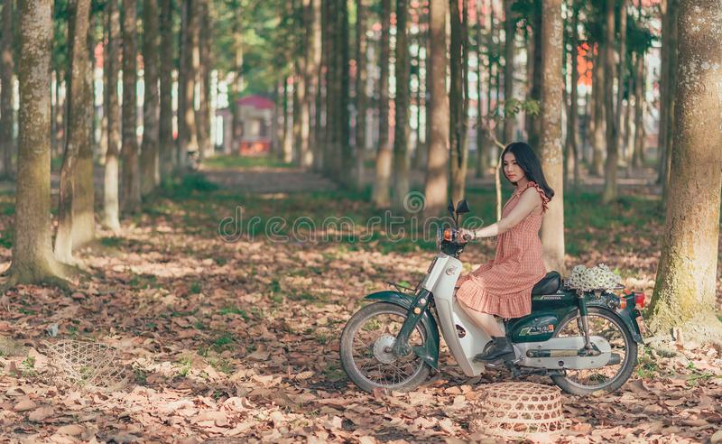 Woman Riding Underbone Motorcycle Between Trees stock images