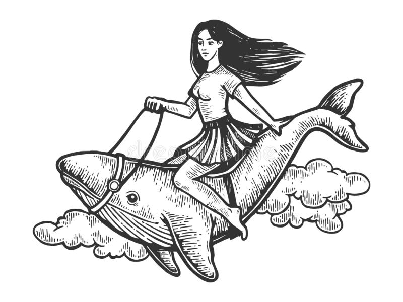 Woman riding whale engraving vector. Beauty girl riding whale flying through the sky vintage engraving vector illustration. Scratch board style imitation. Black vector illustration