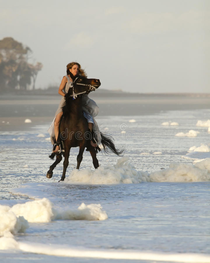 Woman riding wild horse on beach royalty free stock photo