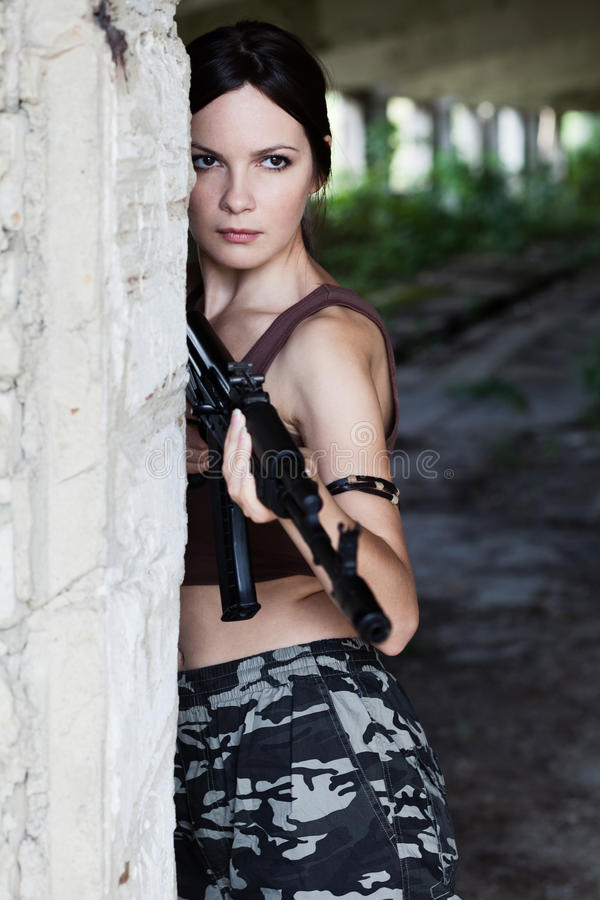 Woman With Rifle (AK-74) Royalty Free Stock Photography