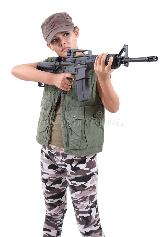Download Woman and rifle stock image. Image of violence, fight - 64899091
