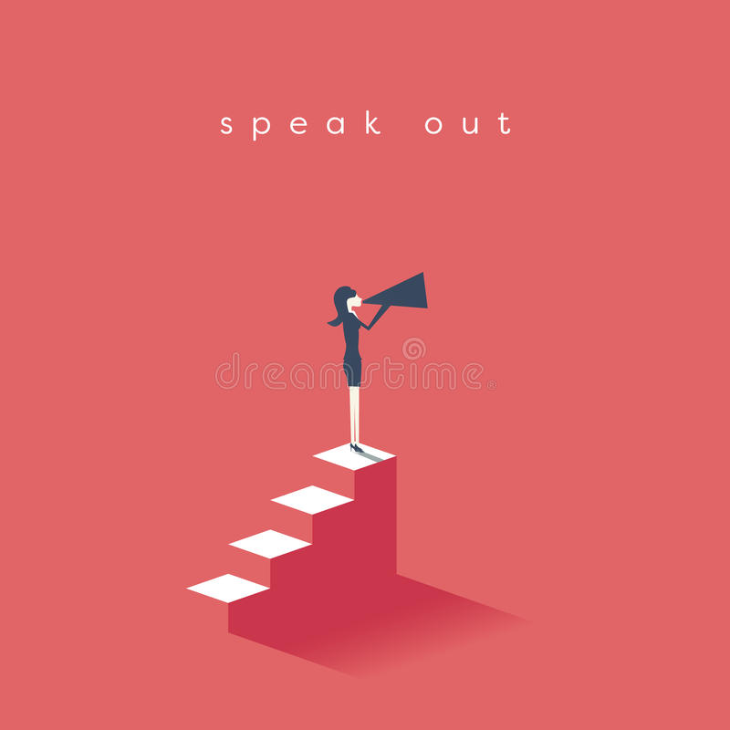 Woman rights, equal pay, feminism, gender gap and inequality in business vector concept. Businesswoman with megaphone on. Steps. Eps10 vector illustration stock illustration