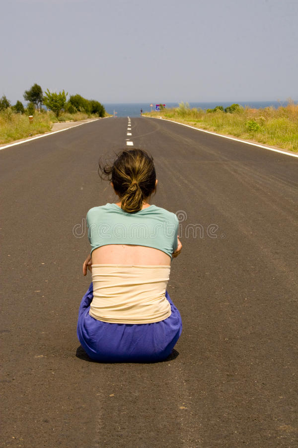 Download Woman In Road Royalty Free Stock Photography - Image: 13049737
