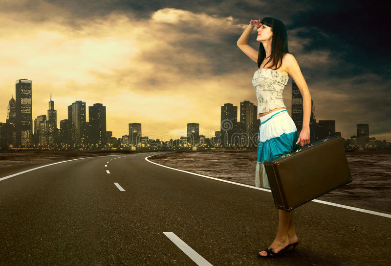 Woman On The Road Stock Images