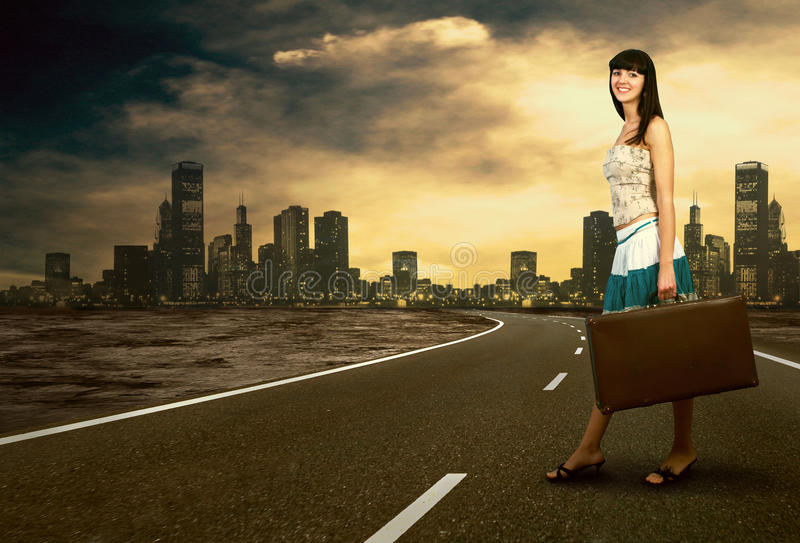 Download Woman on the road stock photo. Image of body, attractive - 18701918