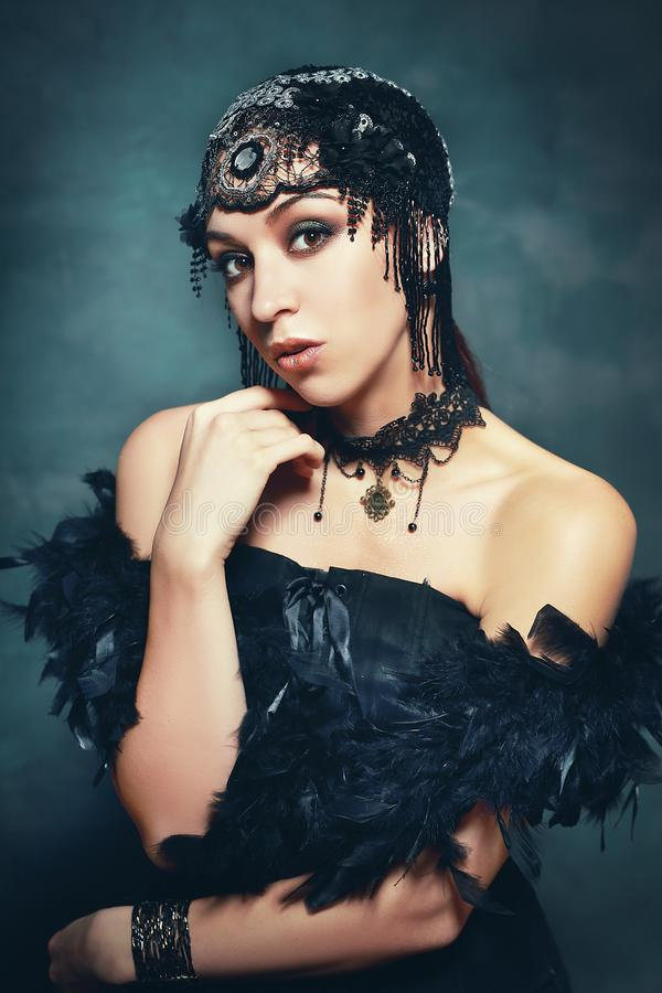 Woman from roaring 20s vintage royalty free stock photo