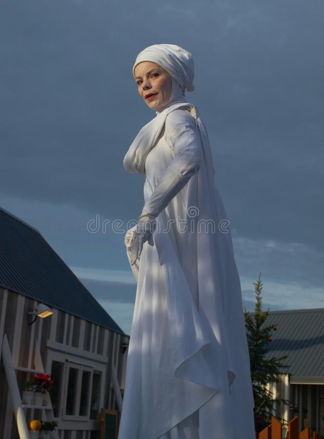 A woman in robe of Saint Lucia royalty free stock photos