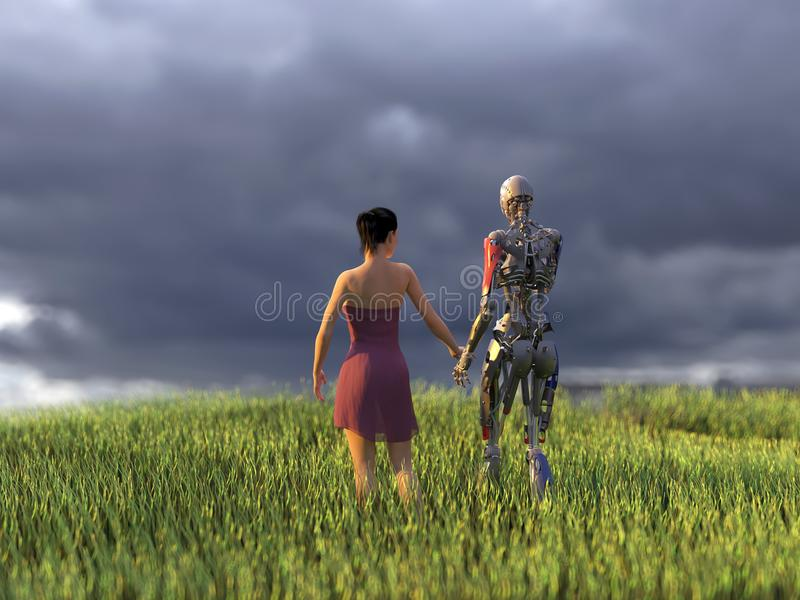 Woman and robot on green field vector illustration