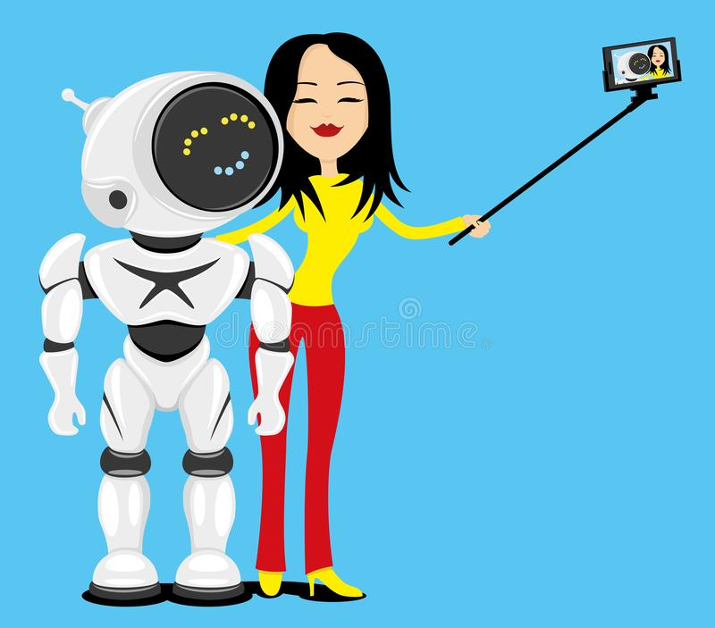 Woman and robot make a photo. vector illustration