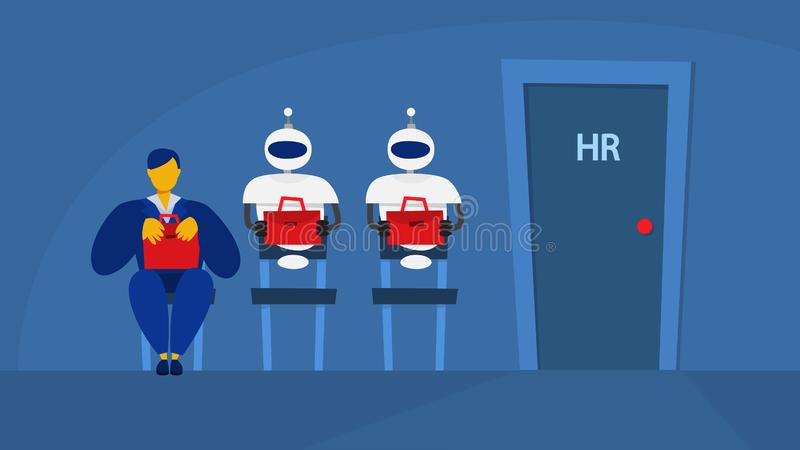 Woman and robot waiting in queue on interview vector illustration