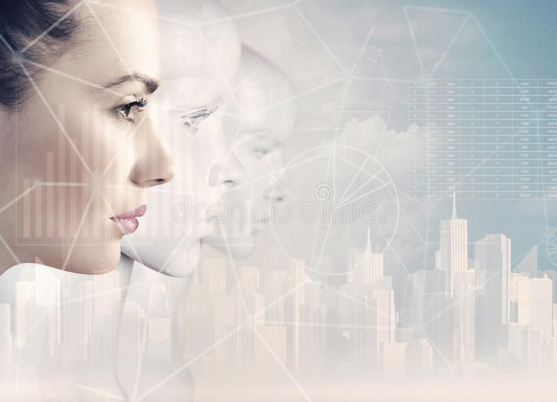 Woman and robots - artificial intelligence stock images