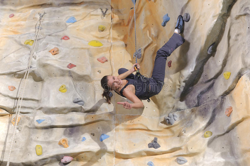 Download Woman On Rock Wall In Sport Centre Stock Image - Image: 38939509